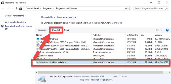 remove_Windows_Live_Photo_Gallery