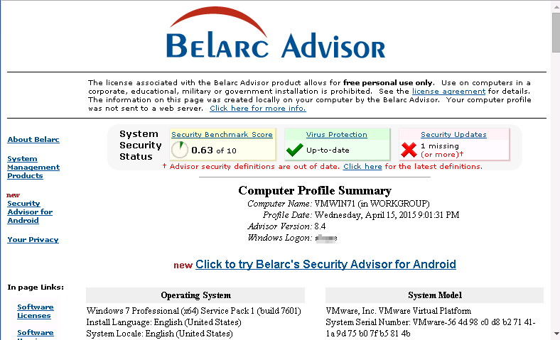 uninstall Belarc Advisor