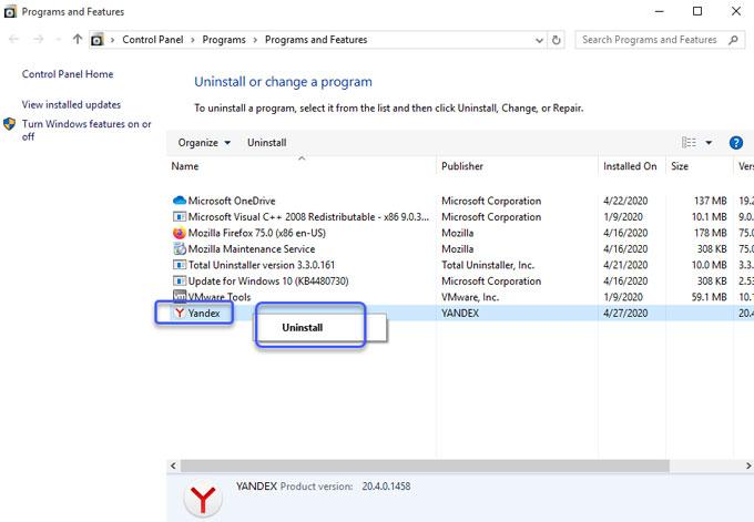 Uninstall Yandex Browser