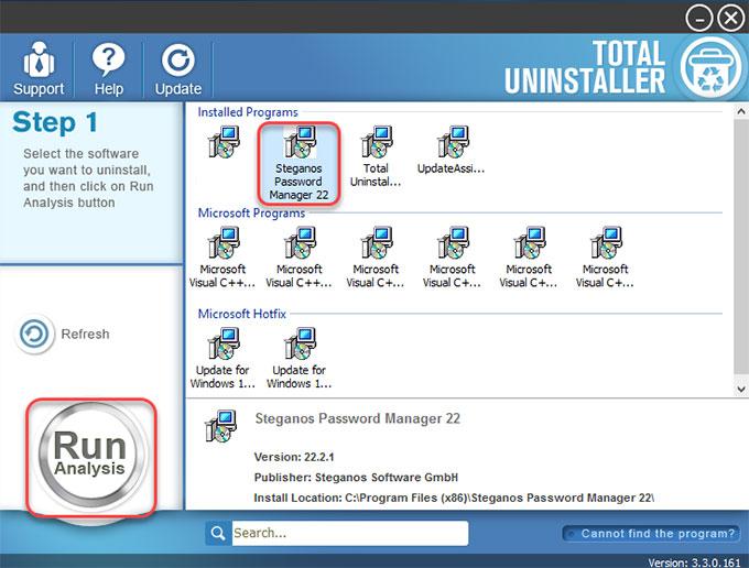Uninstall Steganos Password Manager