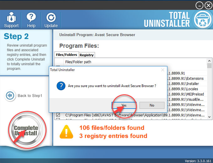 complete uninstall Avast Secure Browser