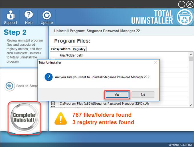 complete uninstall Steganos Password Manager