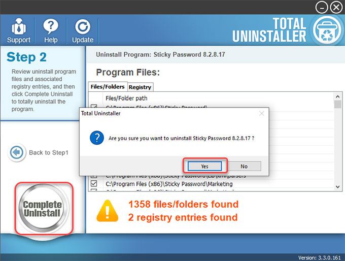 complete uninstall Sticky Password