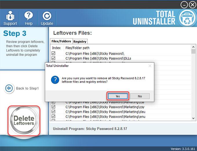 delete Sticky Password leftovers