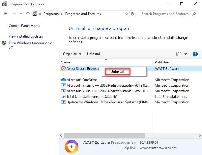 uninstall Avast Secure Browser on Windows 8
