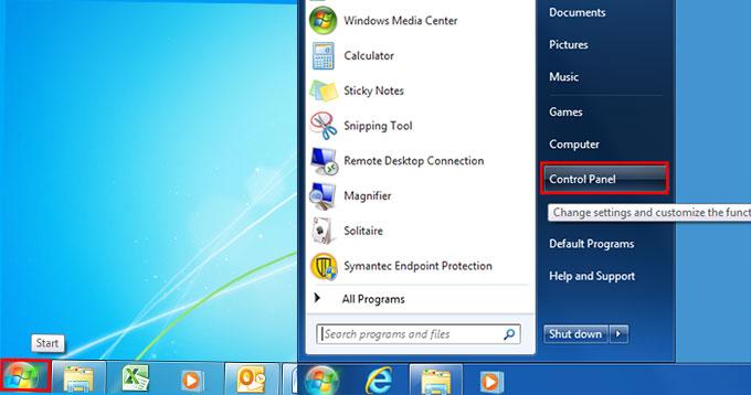 Windows 7 Start Control Panel