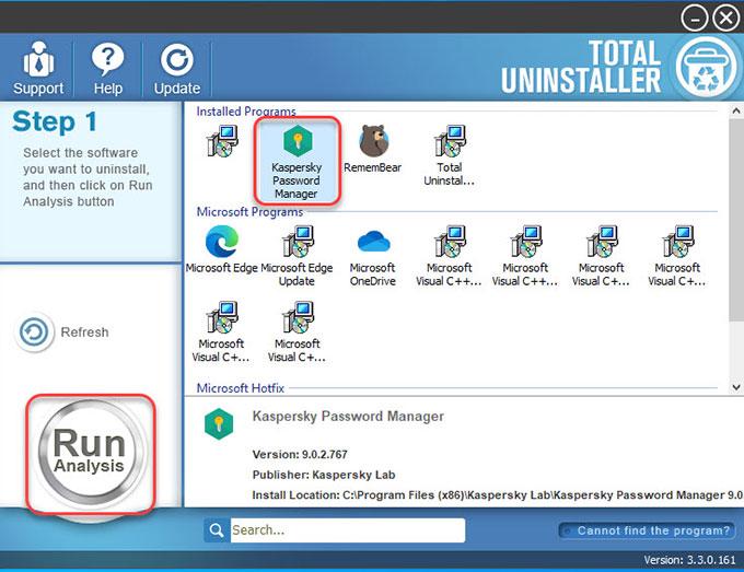 Uninstall Kaspersky Password Manager