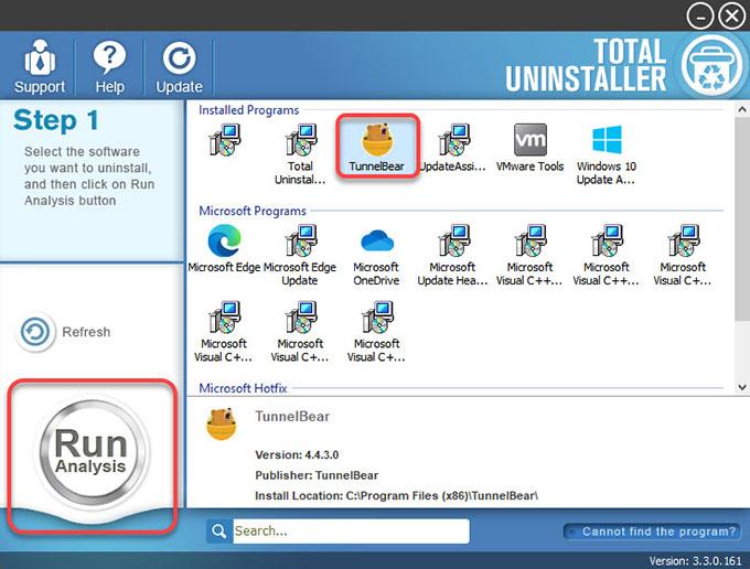 uninstall TunnelBear by Total Uninstaller