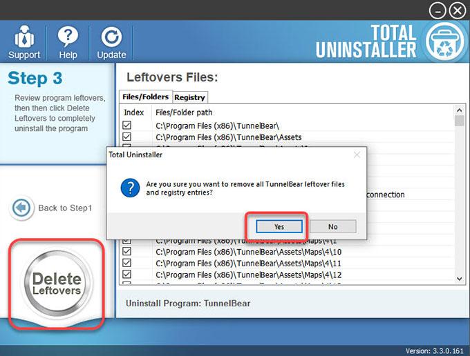 delete TunnelBear leftovers