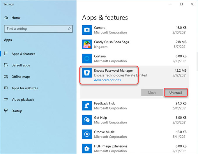 uninstall remove Enpass Password Manager from Windows