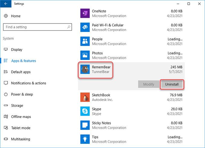 uninstall RememBear on Windows 10