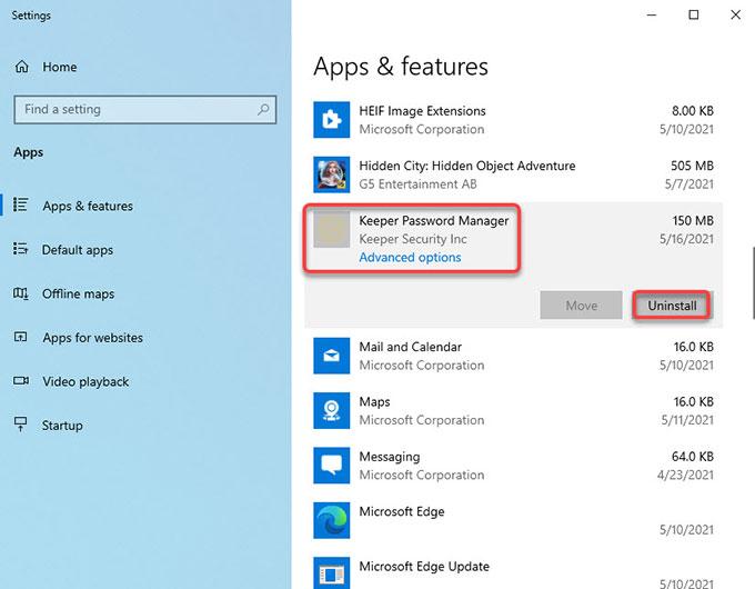 uninstall Keeper on Windows 10