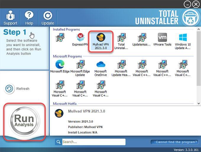 Uninstall Mullvad VPN by Total Uninstaller