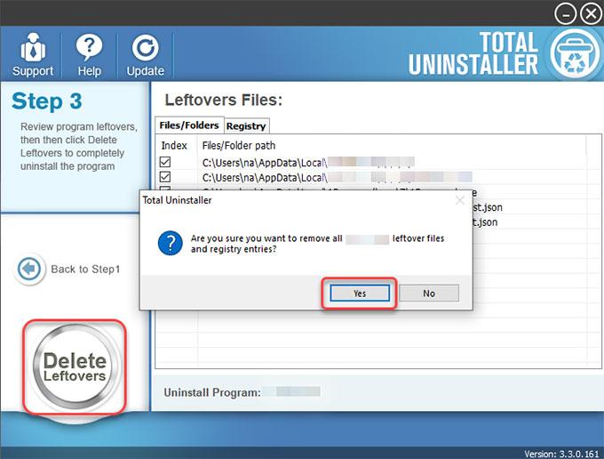 delete leftovers