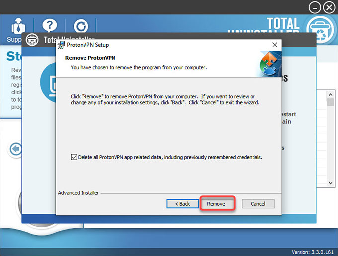 delete ProtonVPN data