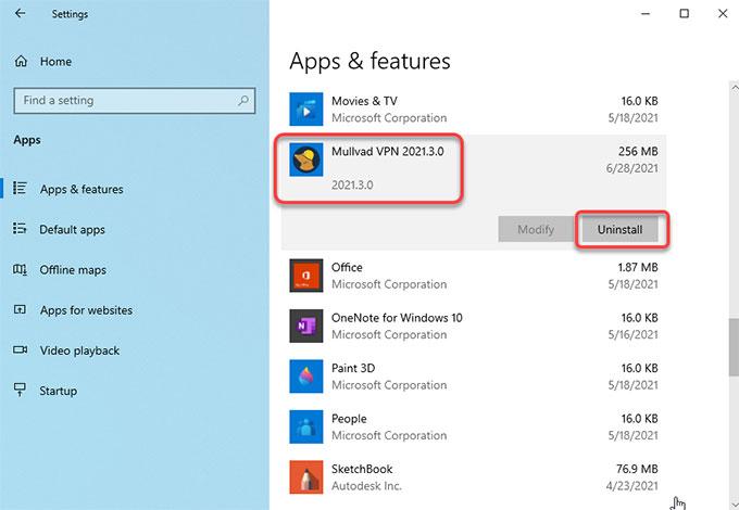 Uninstall Mullvad VPN on Windows 10