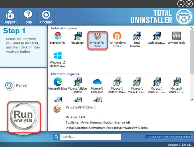 Uninstall PrivateVPN by Total Uninstaller