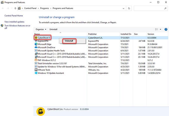 uninstall CyberGhost VPN on Windows