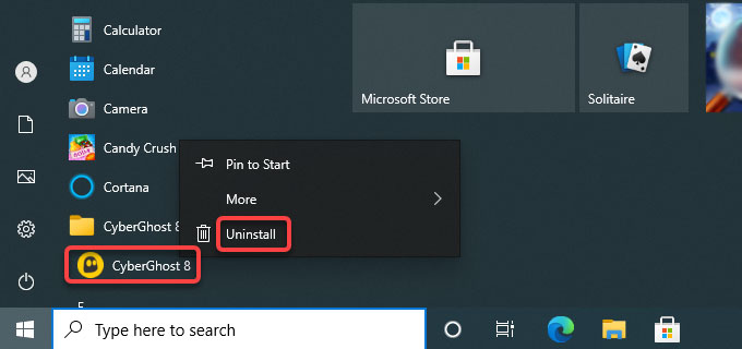 uninstall CyberGhost VPN