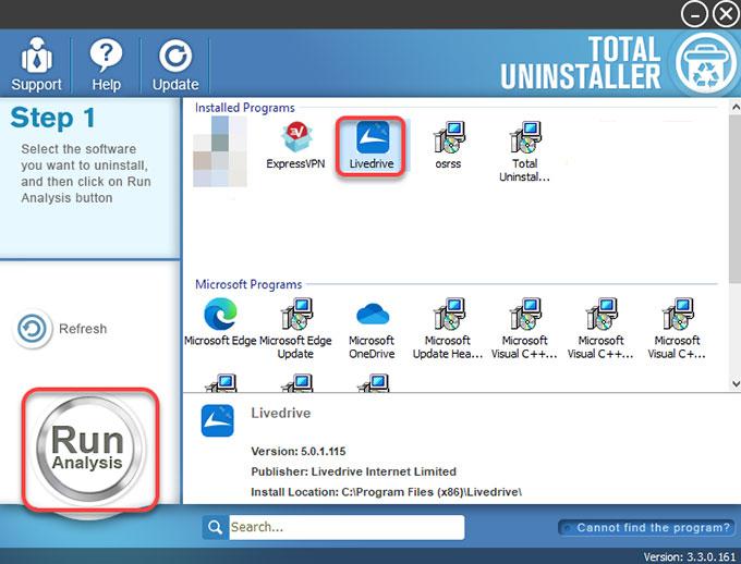 Uninstall Livedrive Using Total Uninstaller