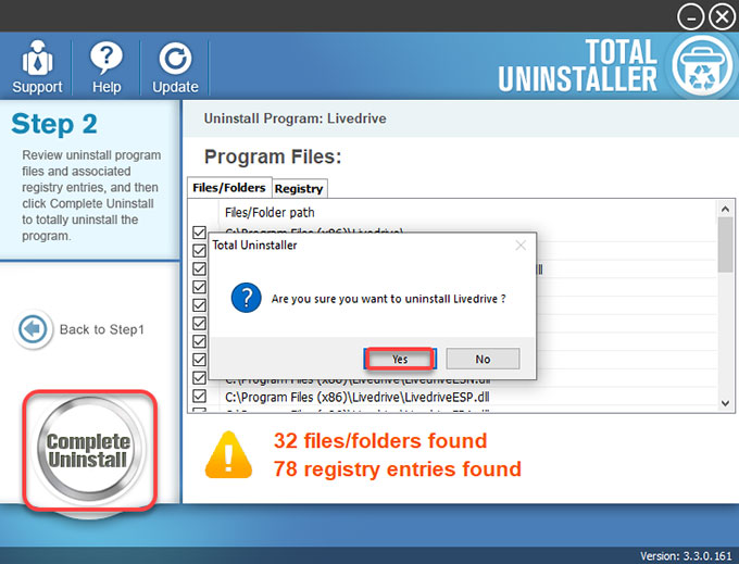 complete uninstall Livedrive