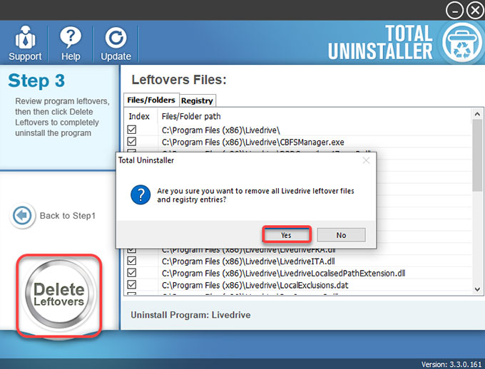delete Livedrive leftovers