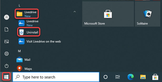 uninstall Livedrive from Start menu