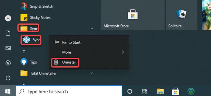uninstall Sync.com