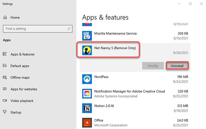 uninstall remove Net Nanny on Windows