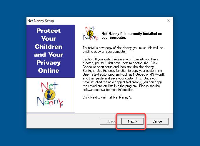 uninstall Net Nanny from Windows